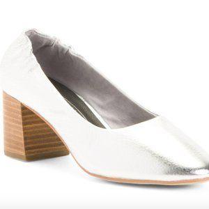 Sol Sana Metallic Silver Block Heel Pumps